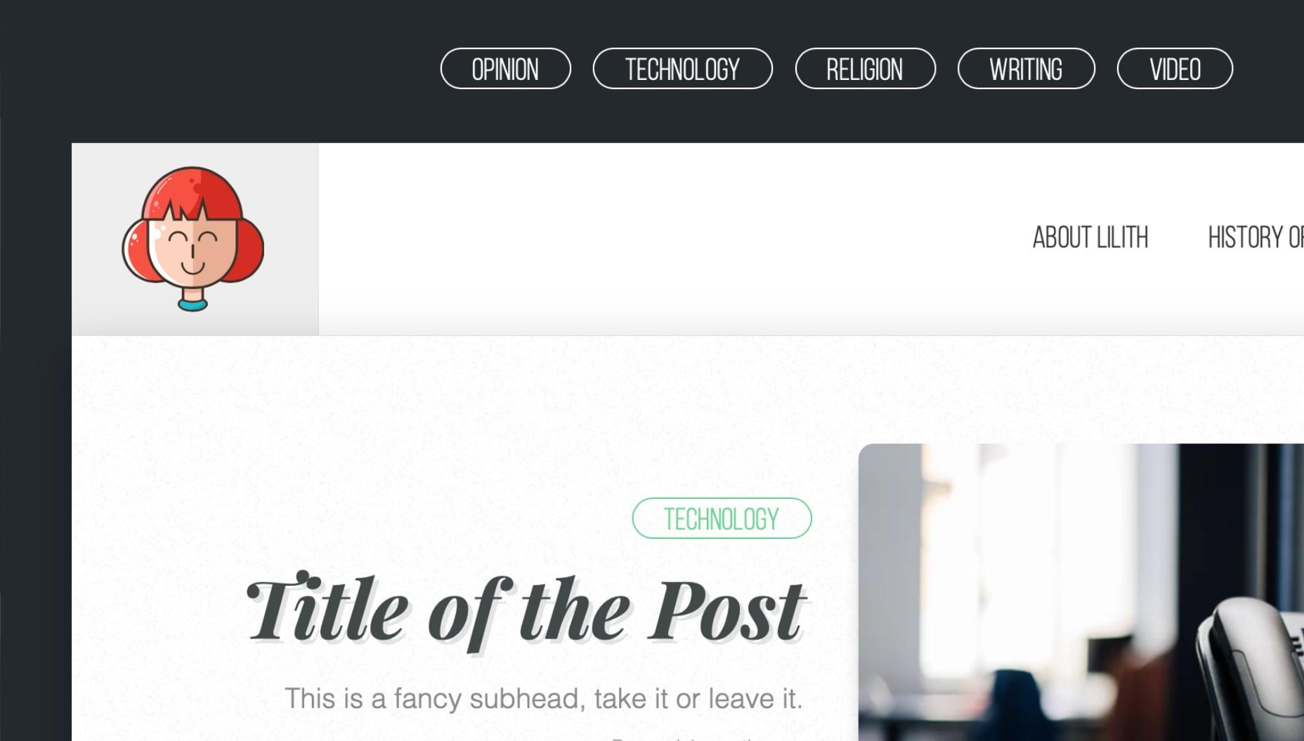 Example image of desktop layout